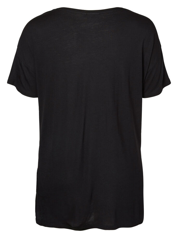 SHORT SLEEVED BLOUSE, Black, large